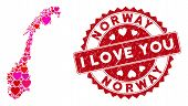 Love Collage Norway Map And Corroded Stamp Seal With I Love You Caption. Norway Map Collage Construc poster