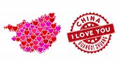 Valentine Collage Guangxi Zhuang Region Map And Distressed Stamp Seal With I Love You Badge. Guangxi poster