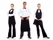 stock photo of waiter  - group of waiter and waitress full length portrait on white - JPG