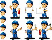 stock photo of designated driver  - A vector set of a male repairman in several poses - JPG