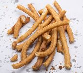 pic of churros  - churros typical Andalusian breakfast made of oil and flour dough - JPG