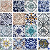 foto of floor covering  - Traditional tiles on old house in Lisbon - JPG