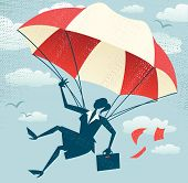 foto of parachute  - Great illustration of Retro styled Businesswoman who - JPG