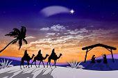 stock photo of magi  - an illustration of Nativity scene at sunset - JPG