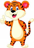 image of tigress  - Vector illustration of Cute tiger cartoon thumb up - JPG