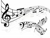 stock photo of musical note  - Two different abstract styled backgrounds using music notes - JPG