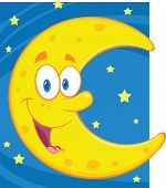 picture of crescent  - Illustration Of Smiling Crescent Moon Over Blue Sky With Stars - JPG
