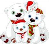 stock photo of bear cub  - Illustration of Big Polar bear family at Christmas - JPG