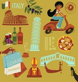 Italy Landmarks, Symbols and Icons - Set of Italy-themed design elements, including landmarks such a