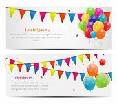 stock photo of balloon  - Color glossy balloons card background vector illustration - JPG