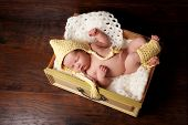 image of leg warmer  - Portrait of a 2 week old sleeping newborn baby girl - JPG