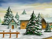 foto of snowy hill  - Small village in a snowy christmas landscape - JPG