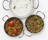 picture of kadai  - A bowl of spiced lamb curry with coriander leaves and slivers of red and green chillies - JPG