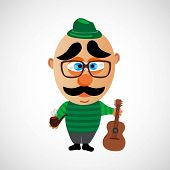 foto of peace-pipe  - Funny vector cartoon hipster - JPG