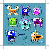 pic of monster symbol  - Monster collection of cute monsters on dotted background - JPG