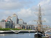 picture of tall ship  - Modern buildings and tall ship in Dublin  - JPG