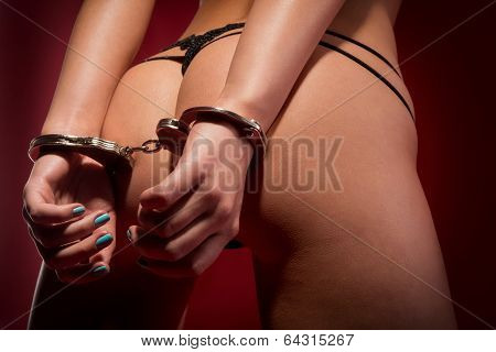 Sexy Girl From Behind In Handcuffs poster
