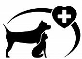 image of veterinary  - black veterinary symbol with dog and cat silhouette - JPG