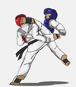 image of taekwondo  - create cartoon taekwondo martial art - JPG