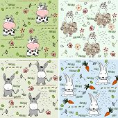 stock photo of burro  - babies hand draw seamless pattern with animals - JPG
