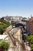 image of pio  - Madrid cityscape with the Prince Pio railway station and the Royal Palace - JPG