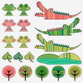 stock photo of alligator baby  - Frog and crocodile cute vector childish set - JPG
