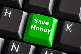 foto of save money  - save money for investment concept with a green button on computer keyboard - JPG