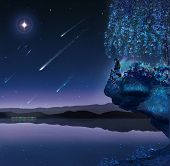 picture of comet  - Fairy is sitting on a rock in a beautiful night with stars and comets - JPG