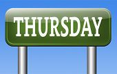 foto of thursday  - thursday week next or following day schedule concept for appointment or event in agenda  - JPG