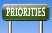 stock photo of priorities  - priorities sign important very high urgency info highest importance crucial information top priority dont forget  - JPG