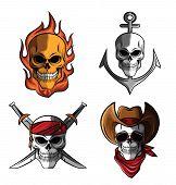 stock photo of skull crossbones flag  - Skull Collection Editable  - JPG