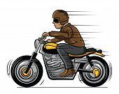image of biker  - Old Biker Editable  - JPG