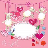 picture of baby sheep  - Pink baby shower card with sheep and hearts  - JPG