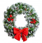 image of christmas wreath  - Christmas wreath isolated on white background - JPG