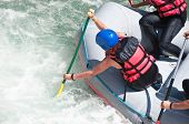 pic of raft  - River Rafting as extreme and fun sport close up - JPG