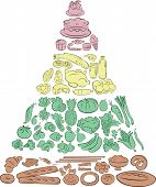 stock photo of food pyramid  - Vector Illustration of Food Pyramid showing the main Food Groups - JPG