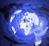 stock photo of social system  - The social network Internet and world  telecommunication concept - JPG