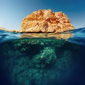 Постер, плакат: Split shot with coral reef underwater and rocky land of the Ras Muhammad National Park Red Sea Egy