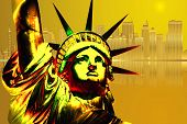 stock photo of liberte  - Golden Statue of Liberty and golden New York - JPG