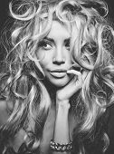 image of perm  - Black and white portrait of eautiful woman with magnificent blond hair - JPG
