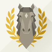 pic of horse head  - Background with horse head in flat style - JPG