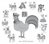 stock photo of rooster  - Chinese New Year of the Rooster with Twelve Zodiacs with Chinese Symbol for Rat Ox Tiger Dragon Rabbit Snake Monkey Horse Goat Rooster Dog Pig Text in Circle Grayscale Vector Illustration - JPG