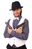 picture of cap gun  - Man with gun isolated on the white - JPG