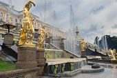 stock photo of samson  - gold plated sculptures by fountains Grand cascade in Pertergof - JPG