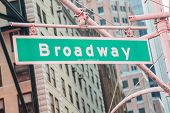 picture of broadway  - Street sign on Broadway on bright day - JPG
