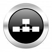 stock photo of cisco  - database black circle glossy chrome icon isolated  - JPG