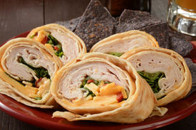 picture of sandwich wrap  - A wrap sandwich with turkey or chicken and organic blue corn tortilla chips - JPG