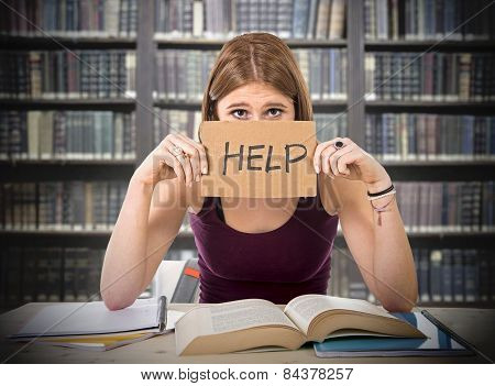 Tired College Student Girl Studying For University Exam Worried Overwhelmed