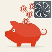 stock photo of bitcoin  - Vector illustration of piggy bank with mining bitcoins for your design - JPG