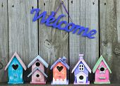 stock photo of bird fence  - Welcome sign hanging over row of colorful pastel birdhouses with rustic wooden background - JPG